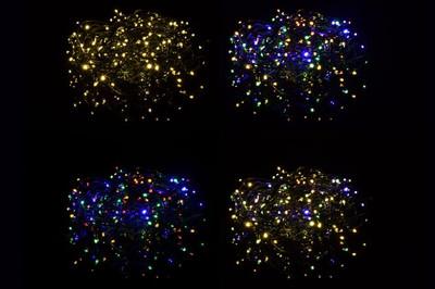 200 LED Lichterkette Farbwechsel warm weiss kalt weiss 9 Funktionen grünes Kabel – Bild 6