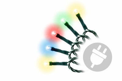 40 LED Lichterkette Innen Aussen bunt grünes Kabel mit Trafo Party-Dekoration – Bild 1