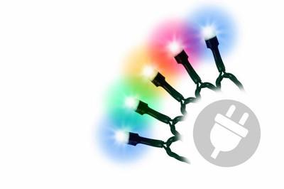 100er Maxi LED Lichterkette bunt aussen Party Deko Trafo grünes Kabel 20m – Bild 1