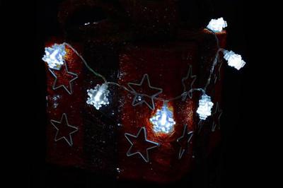 3er Set 20er LED Lichterkette weiss Flocke Schneeflocke Weihnachten Deko Batterie – Bild 4