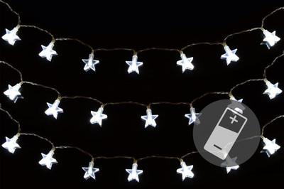 3er Set 20er LED Lichterkette weiss Stern Weihnachten Batterie X-Mas Deko – Bild 1