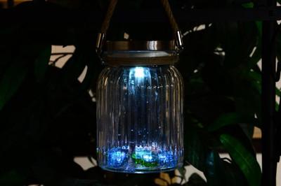 Solarglas 3er Set je 3 LED weiss mit Aufhänger Glas Gartenbeleuchtung – Bild 6