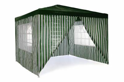 Pavillon Partyzelt 3x3m grün weiss wasserdicht +4 Seitenteile Gartenzelt Eventzelt Marktzelt Festzelt – Bild 1