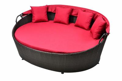 Grosszügige Sonneninsel aus Poly Rattan Sonnenliege Rattanbett Lounge rot – Bild 2
