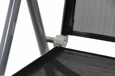 2er Set Klappstuhl schwarz Aluminium Campingstuhl Gartenstuhl Balkonstuhl Rahmen silber – Bild 8