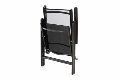 2er Set Klappstuhl schwarz Aluminium Campingstuhl Gartenstuhl Balkonstuhl Rahmen anthrazit – Bild 2