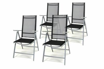 4er Set Klappstuhl schwarz Aluminium Gartenstuhl Campingstuhl Rahmen silber verstellbar – Bild 1