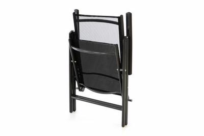 4er schwarz Set Klappstuhl Gartenstuhl Aluminium Campingstuhl Rahmen anthrazit Hochlehner – Bild 2