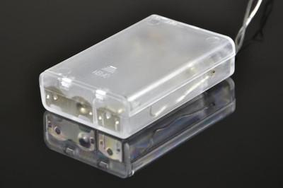 20 LED Lichterkette Ball in Rattanoptik Rattan Lichterkette weiss Batterie – Bild 3