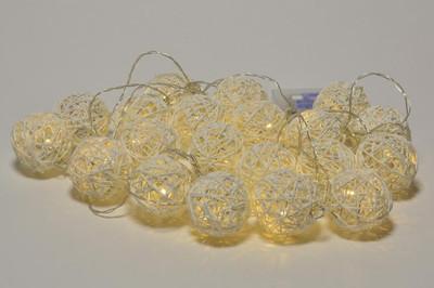 20 LED Lichterkette Ball in Rattanoptik Rattan Lichterkette weiss Batterie – Bild 5