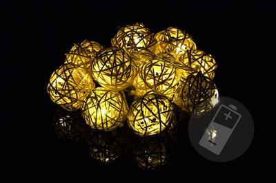 10 LED Lichterkette Ball in Rattanoptik Rattan Lichterkette warmweiss Batterie – Bild 1