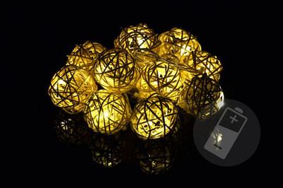 10 LED Lichterkette Ball in Rattanoptik Rattan Lichterkette warmweiss Batterie – Bild 1