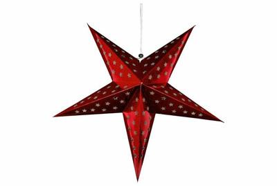 Papierstern 3D 10 LED rot Weihnachtsstern Faltstern Stern Batterie Timer 60 cm – Bild 4