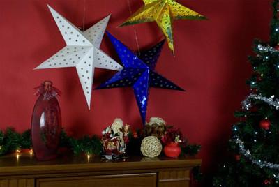 Papierstern 3D 10 LED rot Weihnachtsstern Faltstern Stern Batterie Timer 60 cm – Bild 5