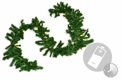 Weihnachtsgirlande mit 35er LED Lichterkette mit Timer 2,7 m Weihnachtsdeko – Bild 1