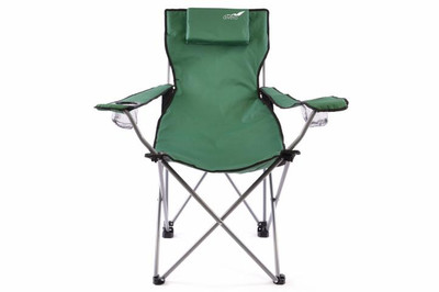 Divero Camping Stuhl Faltstuhl Angelstuhl dunkelgrün Kopfkissen Getränke robust – Bild 1