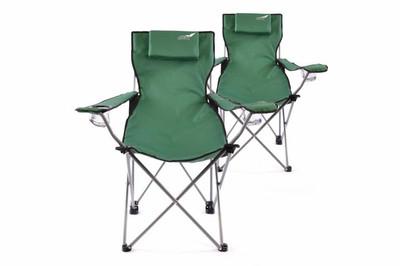 Divero 2er Set Camping Stuhl Faltstuhl Angelstuhl dunkelgrün Kopfkissen robust – Bild 1