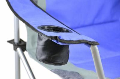 Divero Deluxe Campingstuhl blau grau Faltstuhl Angelstuhl gepolstert – Bild 3
