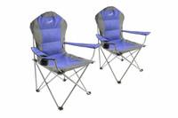 Divero 2er Set Deluxe Campingstuhl blau grau Faltstuhl Angelstuhl gepolstert 001