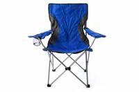 Campingstuhl Faltstuhl blau grau mit Armlehne Getränkehalter Angelstuhl 001