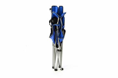 2er Set Campingstuhl Faltstuhl blau grau mit Armlehne Getränkehalter Angelstuhl – Bild 2