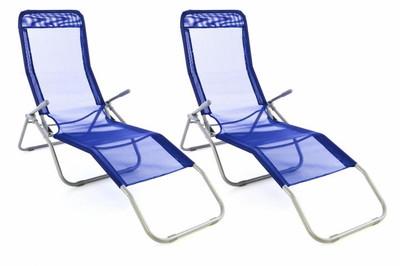 2x Gartenliege Bäderliege 160 cm Textilene blau Armlehne Stahl Relaxliege klappbar – Bild 1