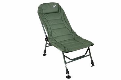 DIVERO Angelstuhl Campingstuhl Karpfenstuhl mit Schlammfüssen + Kopfpolster grün oliv Carpchair – Bild 2