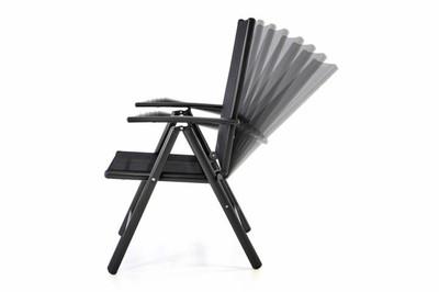 2er Set Klappstuhl Aluminium Gartenstuhl verstellbar Rahmen anthrazit Hochlehner – Bild 3