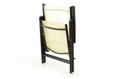 4er Set Klappstuhl Aluminium Gartenstuhl Campingstuhl Rahmen anthrazit Hochlehner Textilene creme – Bild 2