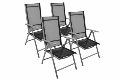 4er Set Klappstuhl Aluminium Gartenstuhl Campingstuhl Hochlehner Stuhl schwarz – Bild 1