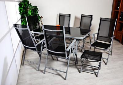 9tlg. Gartengarnitur Sitzgarnitur Sitzgruppe Garnitur Gartenstühle Alu 1 Tisch 6 Stühle 2 Hocker – Bild 7