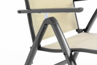 4er Set Deluxe Alu Klappstuhl gepolstert Textilene creme Campingstuhl Rahmen anthrazit – Bild 7