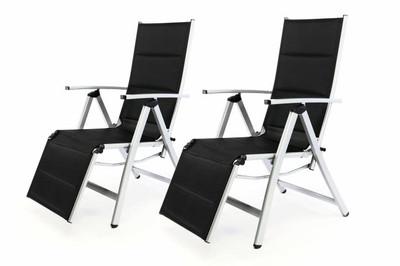 2er Set DELUXE Alu Liegestuhl Klappstuhl gepolstert mit Fussstütze Sonnenliege Campingliege schwarz – Bild 1