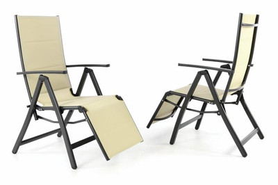2er Set DELUXE Alu Liegestuhl gepolstert creme Klappstuhl m. Fussstütze Campingliege schwarzer Rahmen – Bild 1