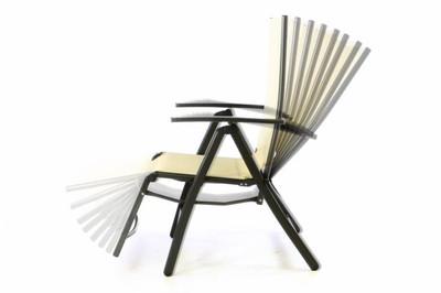 2er Set DELUXE Alu Liegestuhl gepolstert creme Klappstuhl m. Fussstütze Campingliege schwarzer Rahmen – Bild 3