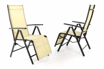 2er Set Alu Liegestuhl Klappstuhl creme mit Fussstütze Sonnenliege Rahmen anthrazit – Bild 1