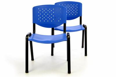 Bürostuhl 2er Set Konferenzstuhl Besucherstuhl blau stapelbar 53,5 x 56 x 79 cm – Bild 1