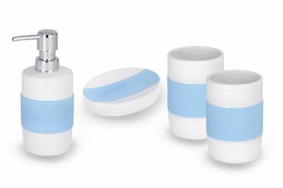 WENKO Badset Bahia blau Keramik Seifenspender Seifenablage 2 Zahnputzbecher – Bild 1