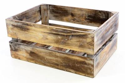 DIVERO Holzkisten gross 51 x 36 x 23 cm Staubox Weinkiste Regalkorb braun geflammt – Bild 1