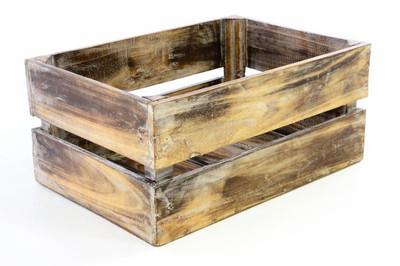 DIVERO Holzkisten gross 51 x 36 x 23 cm Staubox Weinkiste Regalkorb braun geflammt – Bild 2