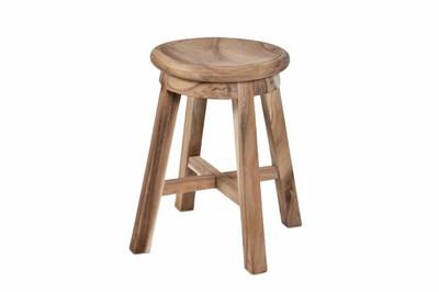 DIVERO Hocker Suar Holz Sitzhocker Holzhocker rund massiv unbehandelt Handarbei – Bild 1