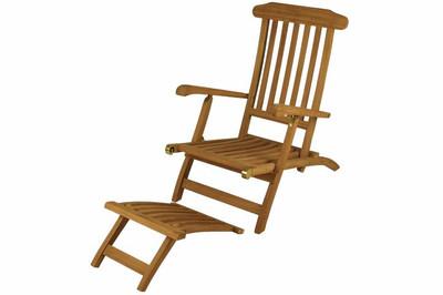 """DIVERO Liegestuhl Deckchair """"Florentine"""" Steamer Chair mit Auflage creme – Bild 6"""