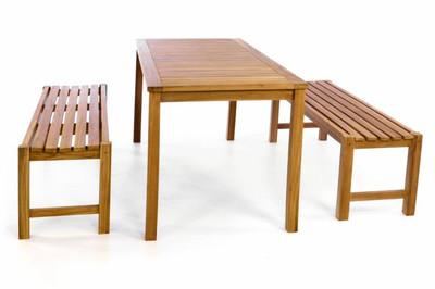 DIVERO Gartenmöbelset Picknickset Sitzgruppe Teakholz Bank Tisch – Bild 2