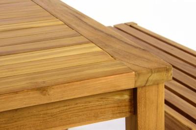 DIVERO Gartenmöbelset Picknickset Sitzgruppe Teakholz Bank Tisch – Bild 9