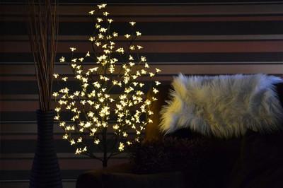 96 LED Baum mit Blüten Blütenbaum Lichterbaum warm weiss 150 cm Batterie Timer – Bild 4