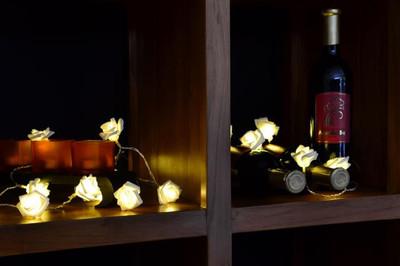 Rosenblütenkette mit 20 LED warm weiss Lichterkette Blumen – Bild 4