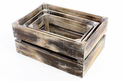 DIVERO 3er Set Holzkisten Staubox Weinkiste Regalkorb geflammt braun L 39 cm – Bild 5