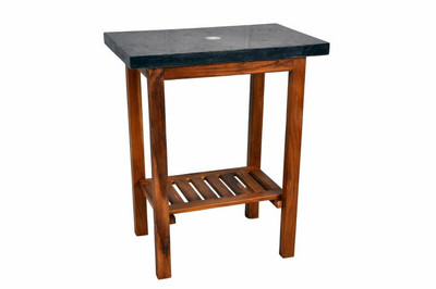 DIVERO Waschtisch Teak Holz mit Natursteinplatte aus schwarzem Marmor Badmöbel – Bild 1