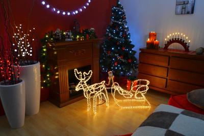 Rentier mit Schlitten beleuchtet Lichterkette Figur Weihnachtsbeleuchtung 140 cm – Bild 4