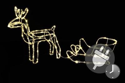 Rentier + Schlitten aus 6 m Lichterschlauch 83 LED warm weiss Trafo Timer Leuchtfigur Aussendeko – Bild 1